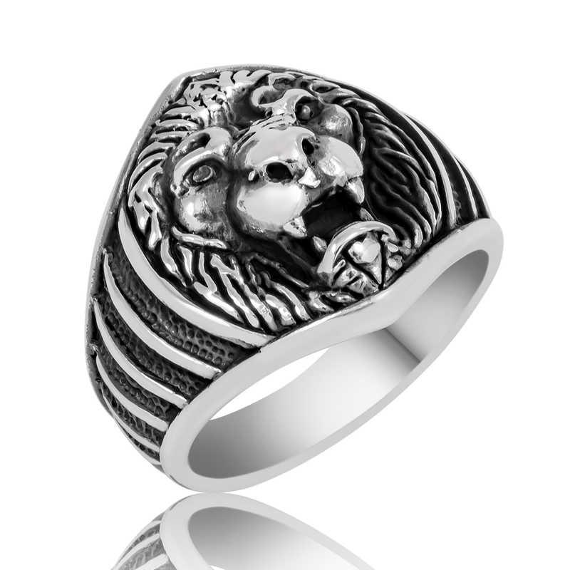 gumus aslan figurlu erkek yuzuk aslan motifli yzkler gumush 33188 40 B