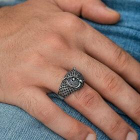 gumus baykus erkek yuzuk sembol yzkler gumush 34263 47 B
