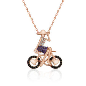gumus bisikletli kiz kolye zirkon tal kolyeler gumush 32082 14 B
