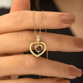 gumus kalp 100 dilde seni seviyorum kolye kalpli kolyeler gumush 33917 46 B