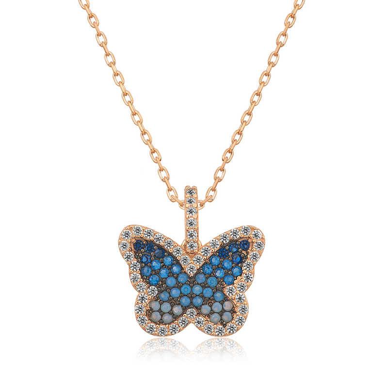 gumus mavi kelebek bayan kolye kelebek kolyeler gumush 33713 45 B