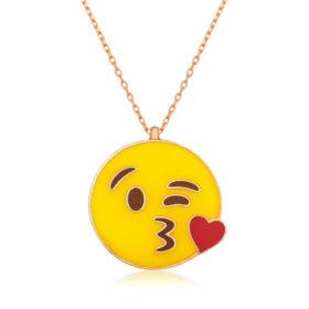 gumus opucuk yollayan emoji kolye kalpli kolyeler gumush 32187 39 B