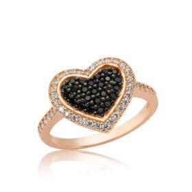 gumus siyah tasli kalbim yuzuk kalpli yzkler gumush 27403 30 B