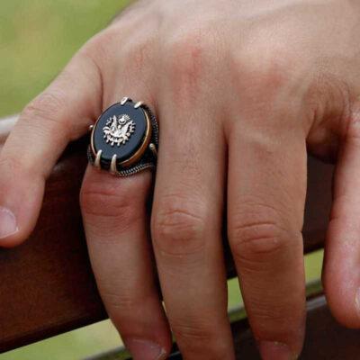 gumus siyah tasli kartal pencesi erkek yuzuk osmanl devlet armal yzkler gumush 33393 40 B