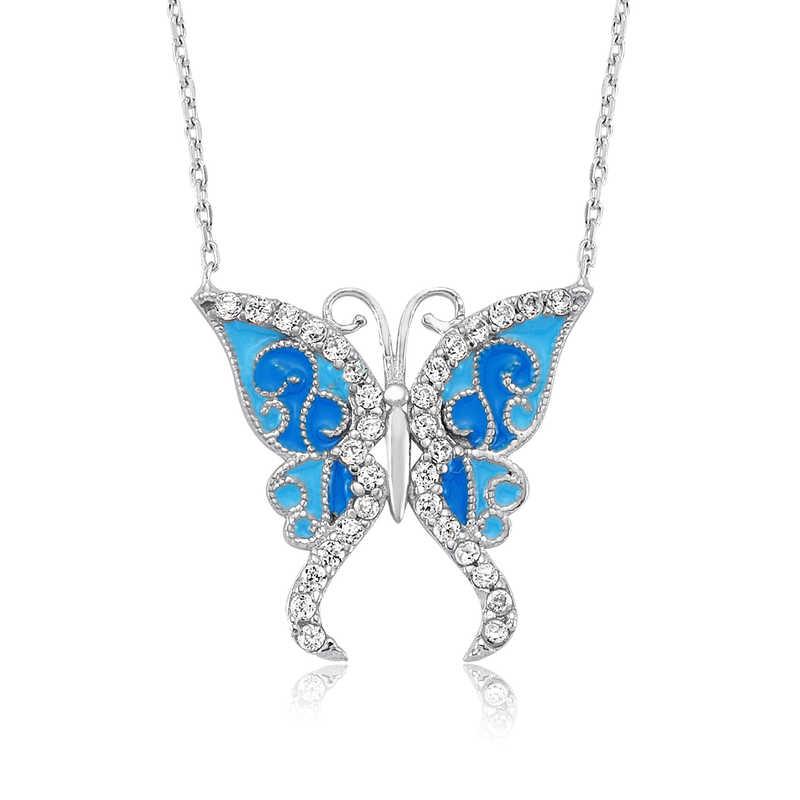 zirkon tasli gumus mavi kelebek kolye kelebek kolyeler gumush 31451 34 B