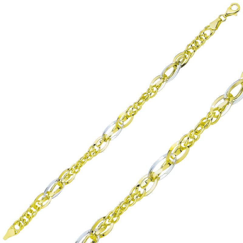 gumus iki renk hallow zincir bileklik su yolu bileklikler gumush 34534 48 B