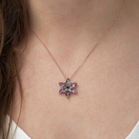 gumus mistik lotus cicegi kolye yaprak iek kolyeler gumush 34487 48 B
