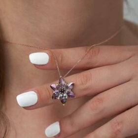 gumus mistik lotus cicegi kolye yaprak iek kolyeler gumush 34488 48 B